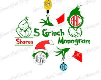 Grinch Hand Monogram Svg Collection, Grinch Hand Ornament Svg, Grinch Iron On Transfer, Grinch Split Monogram Frame, Grinch Monogram