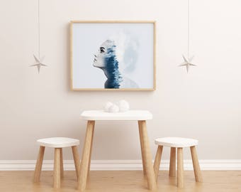 Wall Art Prints, Home Decor, Printable Art, Portraits,  Gift For Women, Art Print, Home Art, Wall Art, - blue dreams