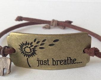 just breathe bracelet, elephant charm bracelet, yoga just breathe bracelet, yoga elephant charm bracelet, just breathe id jewelry