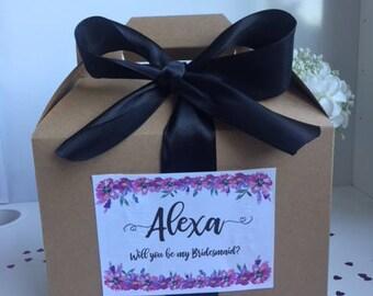 Bridesmaid Proposal Custom Gift Box - Floral - Box Label Ribbon | Gift Will You Be My Bridesmaid Gift Box - Bridal Party | Eco | Wedding