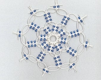 Handmade white hemp macrame snowflake with blue glass beads by TwistedandKnottyUS