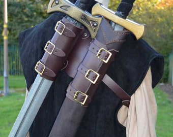 Wolf Double Back Scabbard - Leather - Witcher, LARP and Cosplay