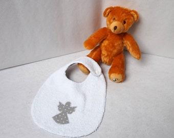 Baby towel bib reversible dots fabric and grey Terry White Cherub pattern