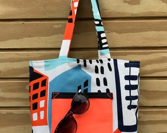 Reversible Over the Shoulder Beach Tote Bag - Urban Tote - Modern Purse - Architectural Design