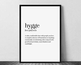 Hygge Print, Definition Print, Hygge, Hygge Decor, Hygge Wall Art, Hygge Definition, Scandinavian Print, Hygge Gift, Hygge Art, Typography