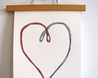 Love Heart Couple Watercolor Print