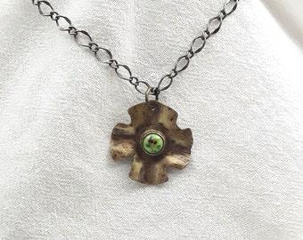 Unique Handmade Brass Pendant with Cab