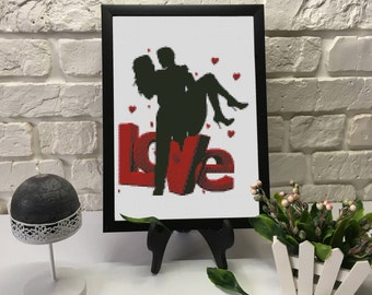 He, She and Love Cross Stitch Pattern PDF