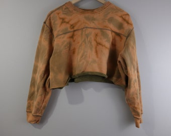 Custom Bleached and Cropped Pullover Sweatshirt
