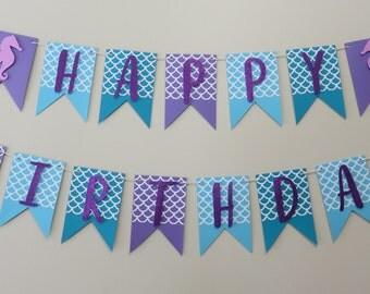 Under the Sea Happy Birthday Banner - Custom - First Birthday Purple Teal Glitter Mermaid Seahorse