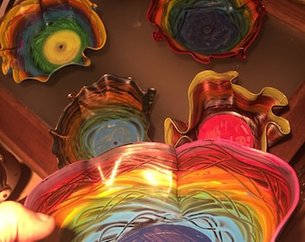 Funky LP bowls hand painted and varnished
