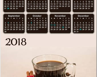 """Good Morning Cup of Coffee 2018 Full Year View 8"""" Calendar - Magnet or Wall #3839"""