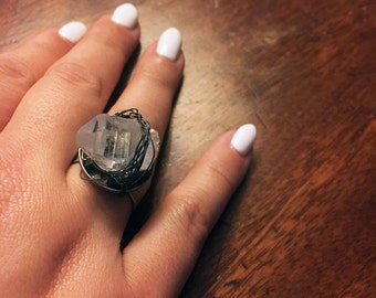 Energy Garden - Raw Clear Quartz Adjustable Ring with Wire Wrapping