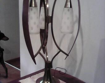Modernist Teak Wood and pendant three sconce lamp Danish modern Eames Patton Jere Atomic Kitch Retro Large Lamp