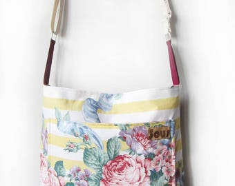 Heartspark// Yellow Stripe and Large Floral Print Crossbody Bag with adjustable cotton webbing strap