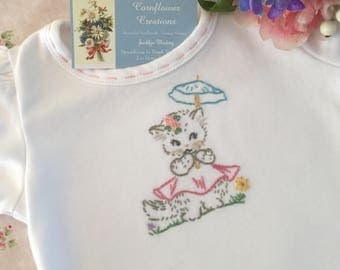 Summer Sun Kitty - Hand Embroidered Baby & Toddler Ruffled Tee Shirt