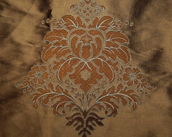 SILK Upholstery fabric with embroidery floral Medallion for chair backs pillows French Revival fabric