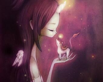 I'll Listen - 5 x 7 Print - illustration kawaii unicorn cute pretty design fantasy