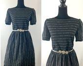 Andy Vintage Secretary Dress & Belt, Vintage Black Dress, Mad Men Dress, Zooey Deschanel Dress, 1960's Dress, Striped Vintage Dress, Vintage