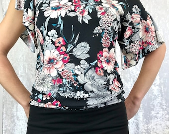 Peach Floral with Black band Sensational Tee by So-Fine