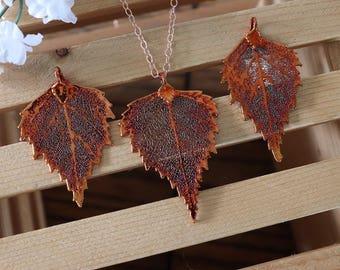 Copper Birch Leaf Necklace, Real Leaf Necklace, Birch Leaf, Rose Gold Leaf Necklace, Long Leaf, Leaf Pendant LC226