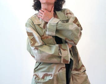 GI Jane, 90s Desert Camo Jacket L XL, Camouflage Jacket, US Air Force Jacket, Commando Military Jacket, Camo Coat, Desert Sand Army Jacket