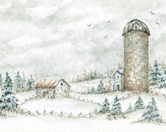 The Old Milk House/Watercolor and Ink Original Painting