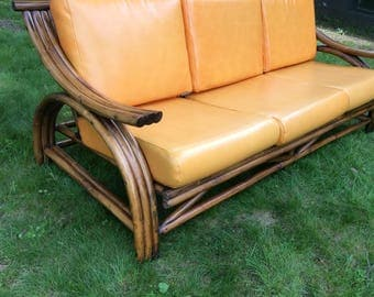 SOLD Mid Century Modern Bamboo Rattan Sofa Couch  - Mid Century Modern Rattan Sofa - Tikki Bamboo Couch Sofa - Paul Frankl Style Bamboo
