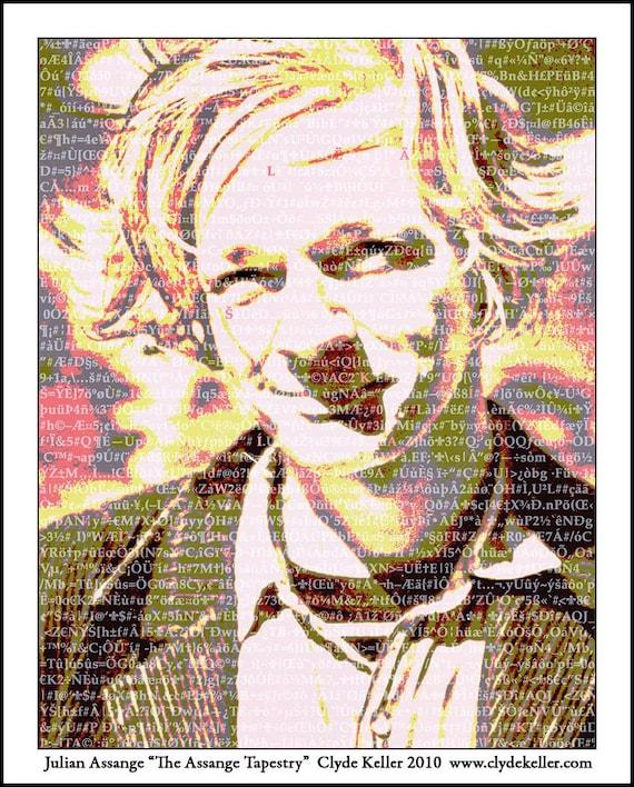 JULIAN ASSANGE TAPESTRY, WikiLeaks, Clyde Keller Fine Art Print