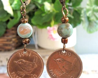 Copper And Turquoise English Farthing Earrings, King George Earrings, Wren Earrings - REDUCED