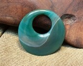 Green Agate Druzy Round Circle Donut Go-Go Double Sided