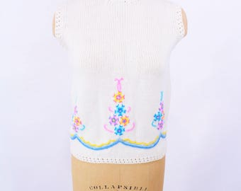 "1960s sweater vest | cream wool pastel embroidery sleeveless sweater | vintage 60s vest | W 29"""