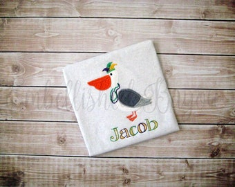 ZigZag Stitch Mardi Gras Pelican Applique Personalized Onesie or T-shirt for Boys or Girls