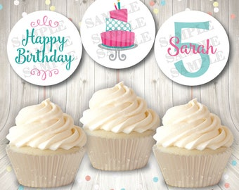Printable Birthday Toppers, Personalized Birthday Tags, Birthday Cupcake Toppers, Happy Birthday DIY Tags