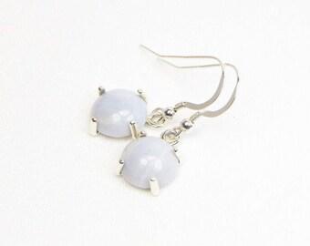 Blue Lace Agate Earrings - 10MM - Sterling Silver - Genuine Gemstones - Cabochon Earrings - Dangle Earrings - Agate Earrings