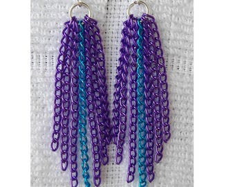 Purple and Turquoise long Chain Earrings