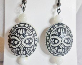 Black and White Resin Earrings