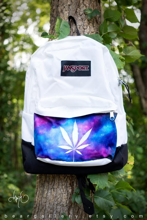 Custom Hand Painted Weed Bag JanSport Marijuana Backpack