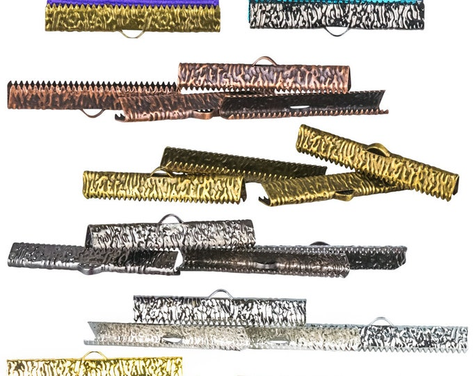 20pcs.   38mm ( 1 1/2 inch )  - Mixed Finish Ribbon Clamp End Crimps - With Loop / Without Loop - Artisan Series