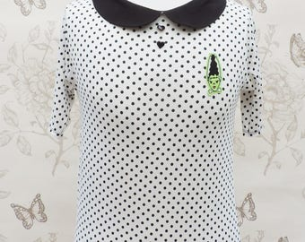White and black polka dots jersey top, black peter pan collar, bride of frankenstein embroidery