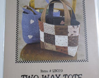 Kimie's Quilts Two-Way Tote Reversible Patchwork Purse Hand Bag Sewing Pattern