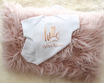 Rose Gold hello I'm new here | baby bodysuit | rose gold baby | hello my name is | baby girl bodysuit | baby girl clothing | newborn