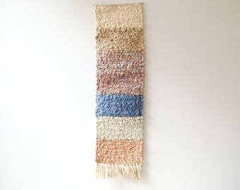 Vintage Woven Wall Hanging, Handmade Wool Wall Weaving