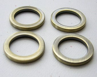 "3/4"" Round D Rings Antique Brass Plated Flat Circle Rings for 1/2"" or 5/8"" Straps - set of 4"