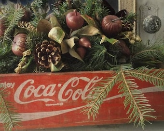 Farmhouse Christmas Crate. Coca Cola Wood Crate. Rustic Holiday Display Crate. Industrial Advertising. Altered Art Projects.