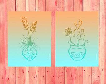 Cactus Print, Southwest Decor, Succulent Print, Boho Decor, Ombre Art Print, Aqua Art Print, Southwest Desert Prickly Pear Yucca Cacti Peach