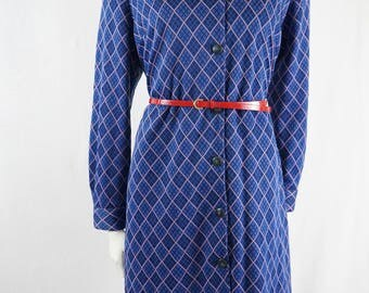 Vintage 60s 70s Blue and Pink Diamond Pattern Stripe Button Up Long Sleeve Shirt Dress Tunic