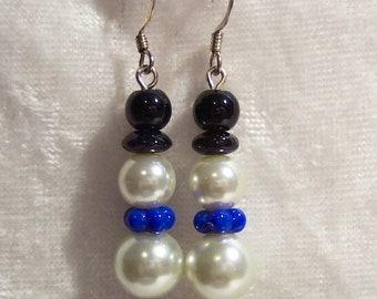 Snowman Earrings, Glass Pearl Snowman Earrings, Snowman with Blue Scarf Earrings, Christmas Earrings, Clip ons Available