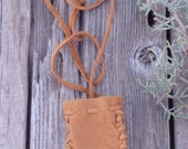 Leather crystal bag , Leather medicine bag , Ready to ship , Leather necklace bag