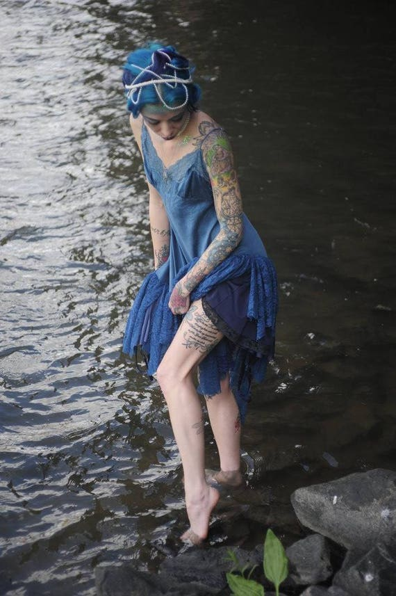 Blue Siren Silk and Lace Asymmetrical Slip Dress